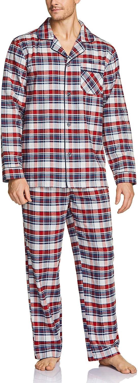 CQR Men's 100% Cotton Plaid Flannel Pajama Set, Brushed Soft Lounge & Sleep PJ Top & Bottom with Pockets