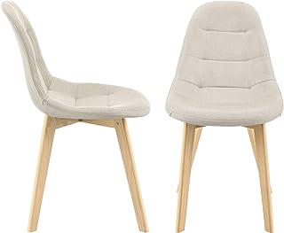 Lot de 2 Chaises de Salle à Manger Design Sièges Rembourrés Polyester Pieds en Bois de Hêtre 86 x 53 x 47 cm Beige