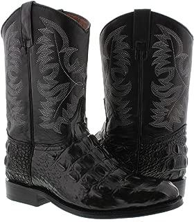 El Presidente - Men's Crocodile Back Cut Leather Cowboy Boots Roper