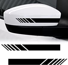 Xotic Tech 2pcs Black Racing Style Vinyl Decals Rearview Mirror Stripe Stickers for Mercedes Benz W204 W212 C Class etc.