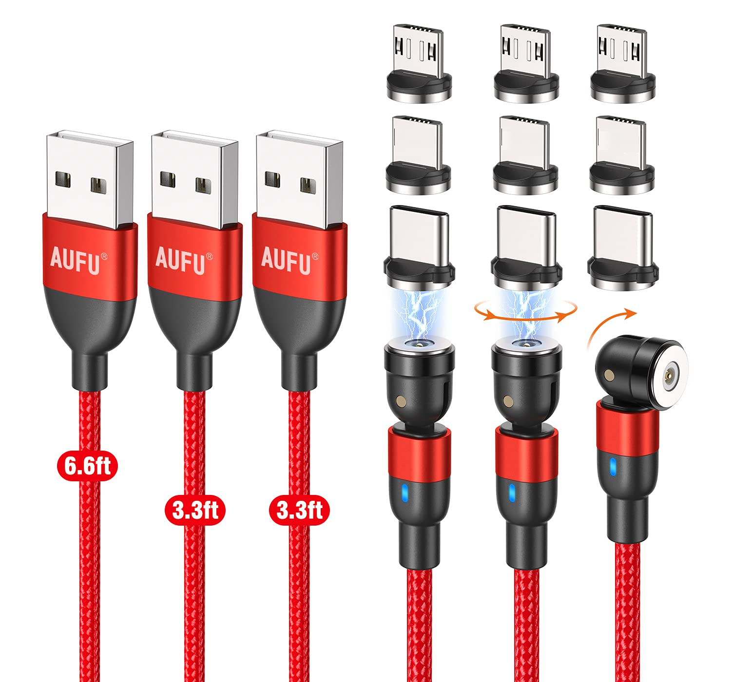 540 Degree Magnetic Charger Phone Charging Cable USB Charger 360° & 180° Magnetic Charging Cables Compatible with Micro Type C (Red/3Pack/3.3FT/3.3FT/6.6FT)