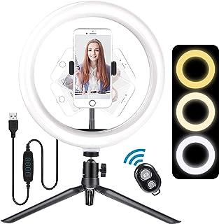 Meromore 10 tums LED-ringlampa med stativstativ och Bluetooth-fjärrkontroll, dimbar skrivbordsringlampa för Youtube Instag...