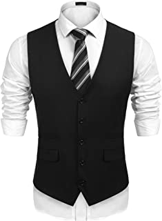 JINIDU Men`s Business Suit Vest,Slim Fit Skinny Wedding Waistcoat