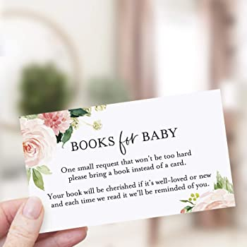 Bliss Collections Book Request Cards for Baby Shower, Pack of 50 Cute Pink Boho Floral Books for Baby Cards, 2 x 3.5 on Premium Quality Heavyweight 100 lb Card Stock, Made in The USA