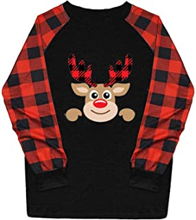 Fudule Women's Christmas Graphic Plaid Raglan Long Sleeve...