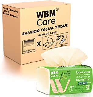 WBM Care Nature Caring Bamboo Facial Tissue, Ultra Soft, No Fragrance & Dye 18 Boxes/Case, 150 Sheets/Each, Pack of 18