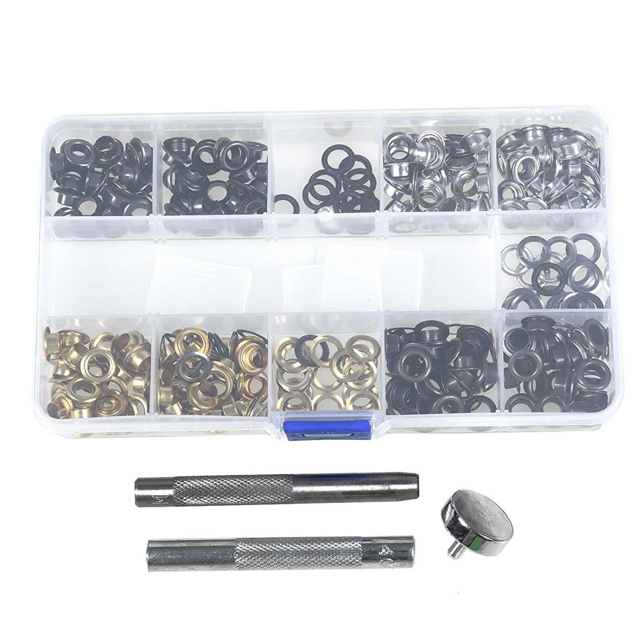 Timoo 1/4 Inch Grommet Kit, 200 Sets Grommets Eyelets and 3 Piece Installation Tools for Making Leather Craft blksbpwsqmvel603