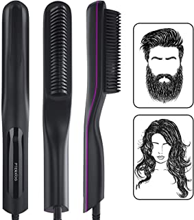 Beard Straightener for Men, Pterxiog Electric Ceramic & Ionic Beard Straightening Comb, Fast Heat Straightening Hair Brush for Women, Anti-scald 3 Adjustable Temperature, Portable for Home and Travel