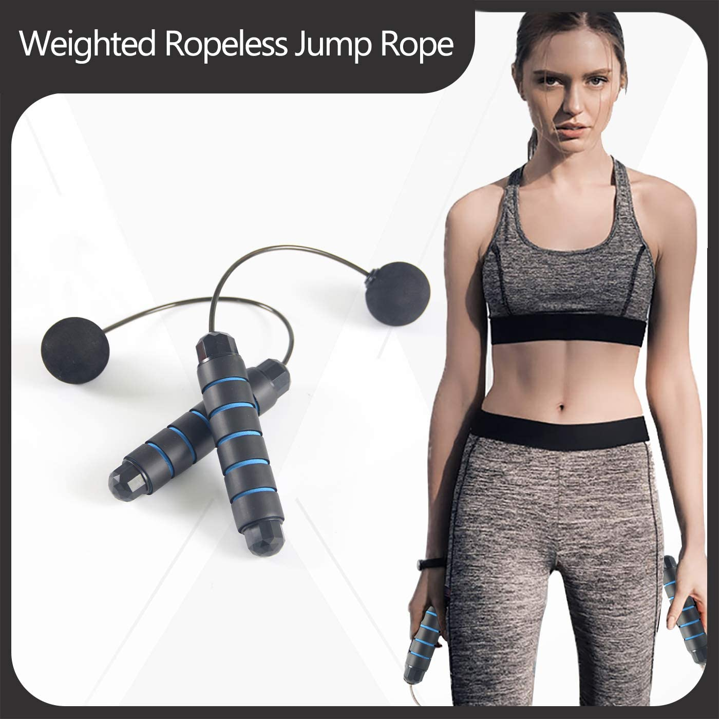 Outdoor Kids Women GoMi Weighted Cordless Jump Rope Suitable for Indoor Training Ropeless Bod Rope for Fitness with Length Adjuster Men Jump Rope Skipping Rope with Anti-Slip Memory Sponge Handles