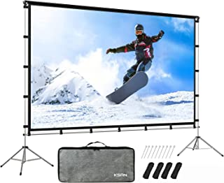 KSAN Outdoor Indoor Projector Screen with Stand Foldable Portable Movie Screen 120 Inch (16:9) Full-Set Bag for Home Theat...