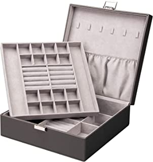 Equuleus Deluxe Jewelry Box for Women, Two-Layer Organizer Display Case w/Travel Compartments, Necklace Holders, Pockets - Jewelry Storage Solutions Collection (Pearl Gray)