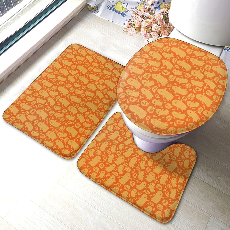 Halloween Bathroom Floor Cheap mail order specialty store Mat Super-cheap Antiskid Pad Toilet Piece 3 Lid Set