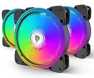 Ventilateur PC de Boîtier 120mm RGB, Ventilateurs de Refroidissement, 120mm LED RGB avec 7 Couleurs et 10 Modes d'Eclairag...