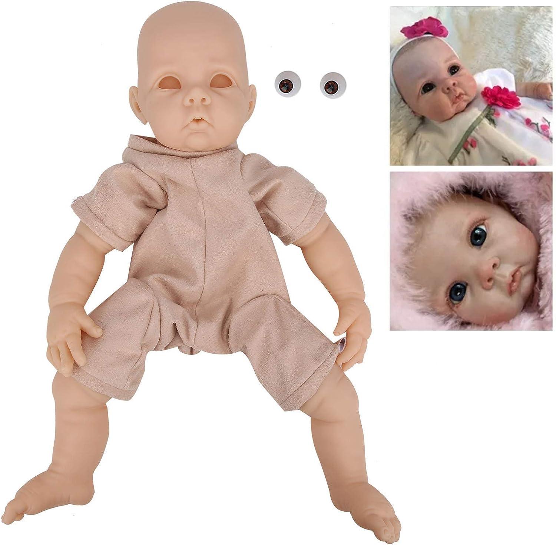 wosume Reborn Baby Doll Girl, DIY Doll Parts Vinyl Reborn Doll Kit Sin Pintar Baby Doll Accesorios de Juguete 22 Pulgadas para niños Playmate Gifts