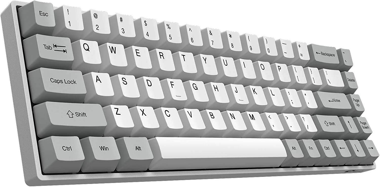 YUNZII AKKO 3068 Silent Wireless Mechanical Keyboard with Bluetooth 5.0, Dye-Sub PBT Keycap Upgraded Mechanical Gaming Keyboard (AKKO Orange Switch, 68 Keys)