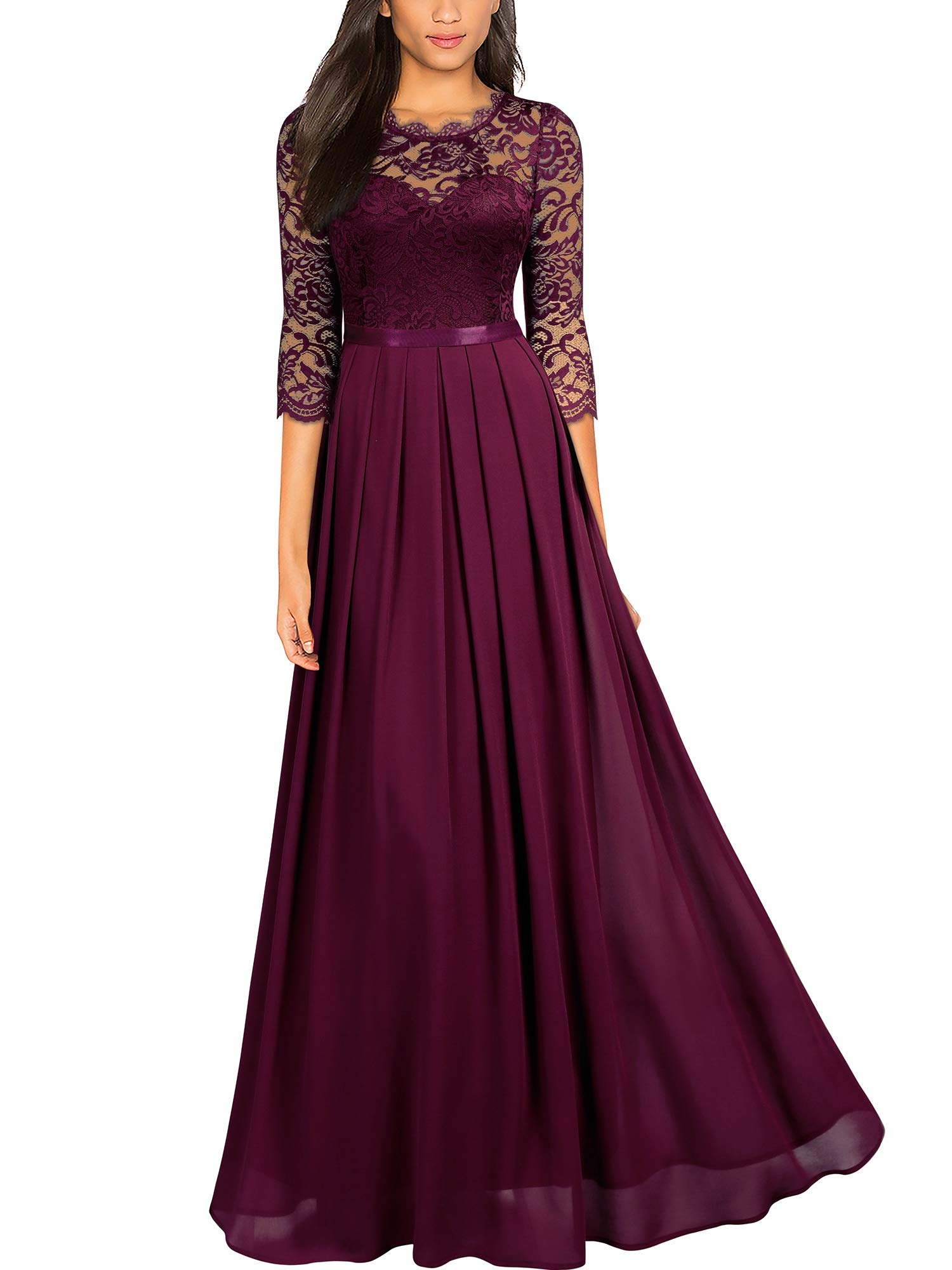 Party Dresses - Women's Formal Floral Lace Wedding Bridesmaid Maxi Dress
