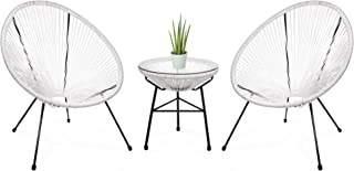Best Choice Products 3-Piece Outdoor Acapulco Woven Rope Patio Conversation Bistro Set w/Glass Top Table and 2 Chairs, White