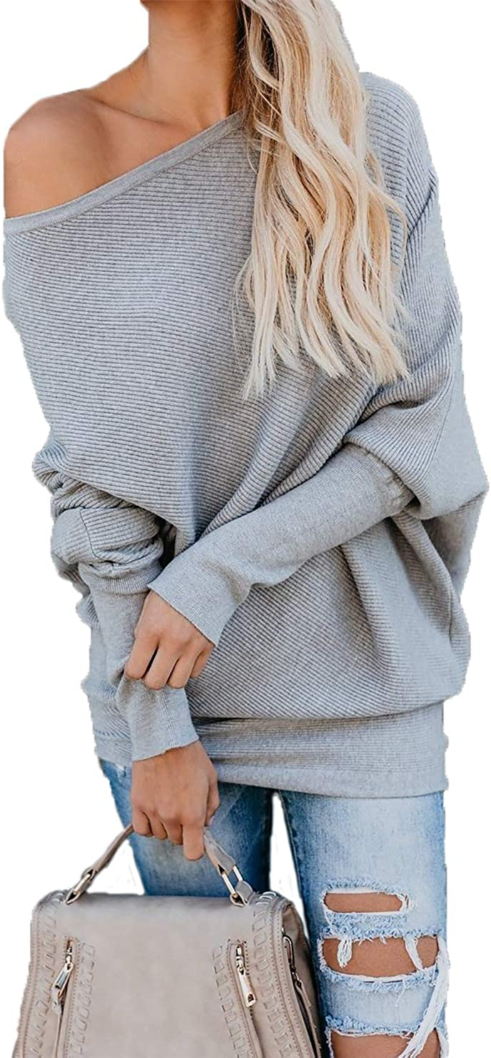 HZSONNE Womens Off The Raleigh Mall Shoulder Sweater Knit Spasm price Rib Sleeve Batwing