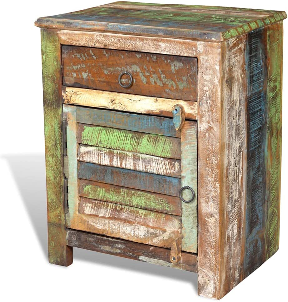 Furniking End Table with Indianapolis Mall 1 Over item handling Drawer Reclaimed Door Wood