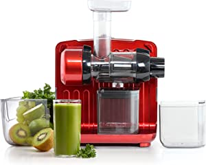 Omega Juicer JCUBE500RD Cold Press 365 Slow Masticating Juice Extractor and Nutrition System with On-Board Storage, 120-Watts, Red