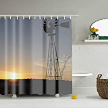 AyxjlSv Aermotor Windmill, Shower Curtain - Water, Soap, and Mildew Resistant - Machine Washable - Shower Hooks are Included 65 x 72 inch
