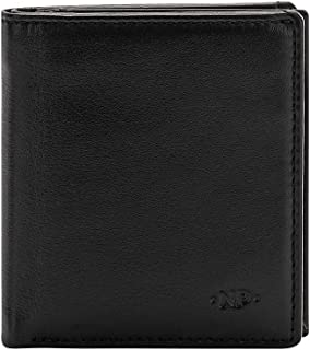 Nuvola Pelle Small Card Holder Wallet for Men in Soft Leather with 8 Card Slots and Money Cash Pocket Black