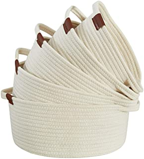 DECOMOMO Cotton Rope Baskets Woven Foldable Storage Bin with Handles | Great for Nursery/Toys/Stationary/Makeup/Kitchen (W...