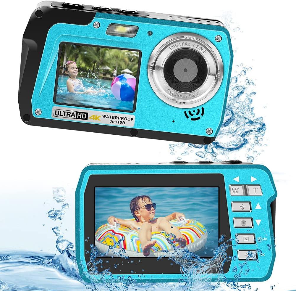 Underwater Camera 4K Video Waterproof Digital Camera 18X Waterproof Camera Anti Shake Selfie Dual-Screen Underwater Camera for Snorkeling Vacation : Electronics
