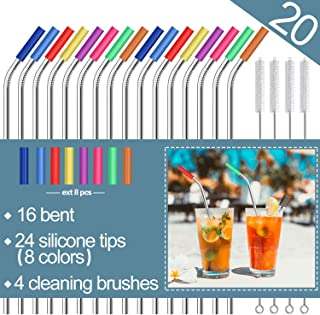 "Stainless Steel Straws,Set of 16 10.5"" FDA-Approved Reusable Drinking Straws for 30oz&20oz Tumblers Cups Mugs,Metal Straws with 24 Soft Food-Grade Silicone Tips,4 Cleaning Brushes (16 bent)"