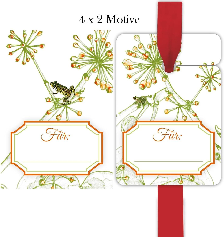 Kartenkaufrausch 60 frische Glücks Geschenkanhnger   Deko Geschenkkrtchen Format 10 x 6,9cm mit Frosch und Efeu  Für