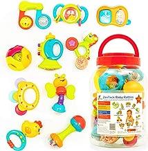 Zenteck Multi-Sensory BPA-Free Baby Rattles Teethers & Shakers Essential Set with Storage Bin [10-Piece] | Baby-Safe, Non-Toxic, Multifunctional Developmental Set for Newborns & Babies