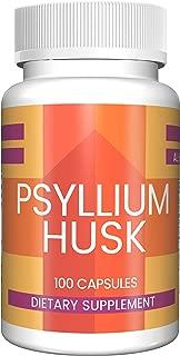 Psyllium Husk Capsules by Pure Organic Ingredients, (100 Capsules, 1,500 mg Serving) (3 Capsules/Serving) Fiber Powder Supplement