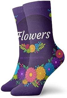 tyui7, Calcetines de compresión antideslizantes ArtCard de papel floral en 3D Calcetines acogedores de 30 cm para hombres, mujeres y niños