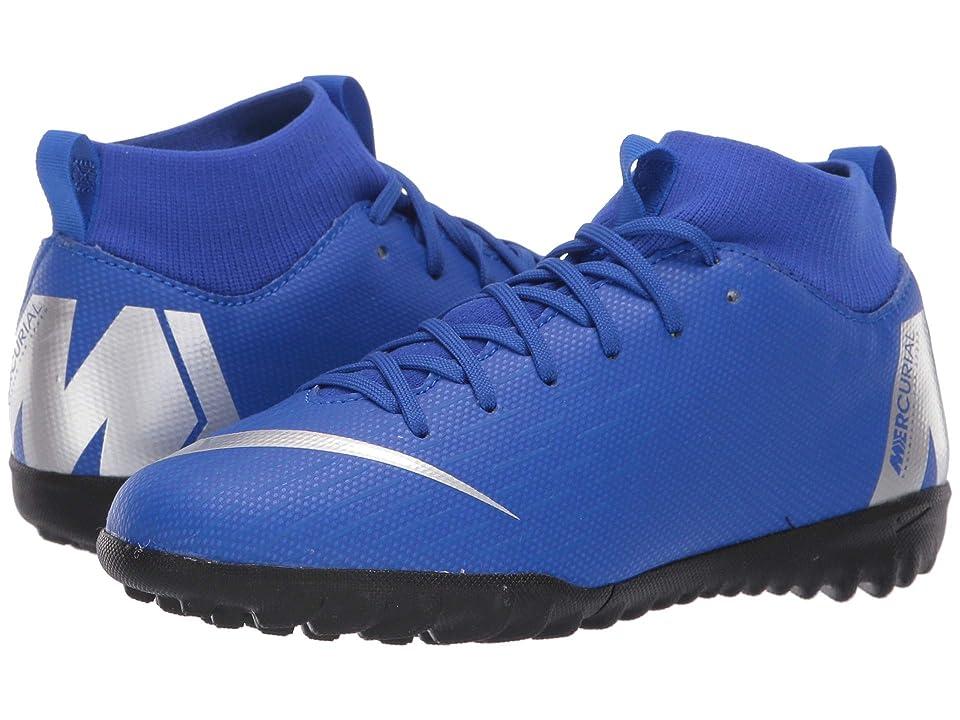 Nike Kids SuperflyX 6 Academy TF (Little Kid/Big Kid) (Racer Blue/Metallic Silver/Black/Volt) Kids Shoes