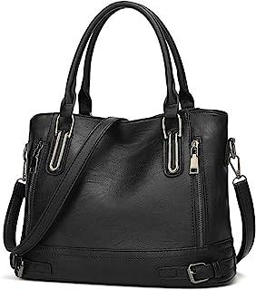 Damen Handtasche Leder Henkeltasche Top Griff Tasche Vintage Weiches Umhängetasche Schultertasche für Frauen - Schwarz