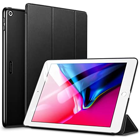 ESR iPad 9.7 ケース 2018と2017年モデル 軽量 薄型 三つ折スタンド オートスリープ機能 スマートカバー 全10色 2017年と2018年発売の9.7インチ iPad 対応 ダークブラック