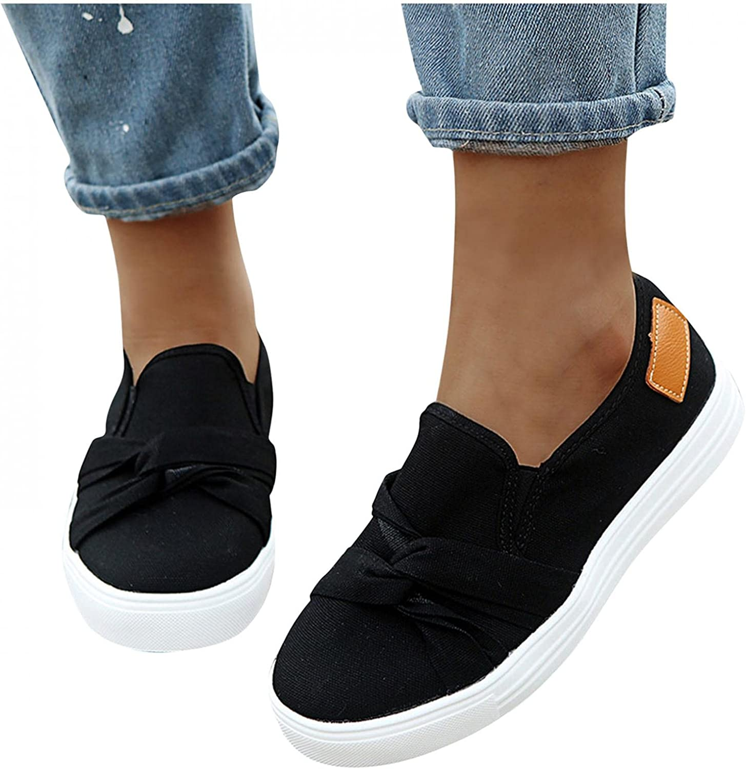 UOCUFY Walking Shoes for Women Casual Loafers Travel Comfy Shoes Slip On Round Toe Lightweight Shoes Summer Outdoor Sneakers