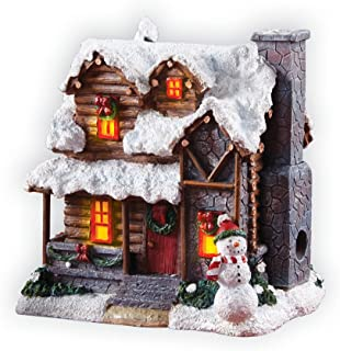Collections Etc Smoking Country Christmas Cabin Incense Burner