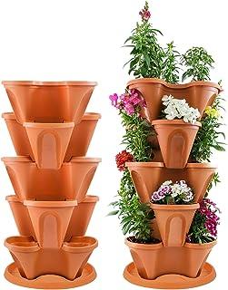 "Houseables 5 Tier Planter, Stackable, 30"" H x 14"" W, Polypropylene, Terracotta, Vertical, Self-Watering, 5-Tiered Pots, Indoor/Outdoor Strawberry Garden Kit, for Flowers, Vegetables, Herbs, Gardening"