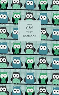 Owl Notebook - Ruled Pages - 5x8 - Premium: (Mint Edition) Bird of Prey Notebook 96 ruled/lined pages (5x8 inches / 12.7x2...