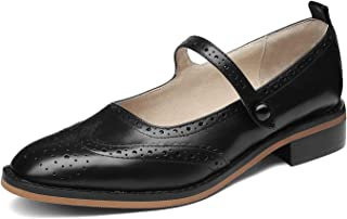 Mary Classic Real Leather Comfortable Womens Slip On Mary Jane Flat Oxford Shoes for Lady Thin Ankle Strap Block Kitten Heel Genuine Leather Casual Dress Shoes