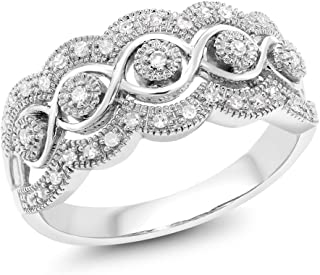 14K White Gold 0.16 Cttw White Diamond Intricately Interlaced Cocktail Ring Wedding Anniversary Band (Size 7)
