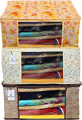 Kuber Industries Metalic Printed 3 Piece Non Woven Fabric Saree Cover Set with Transparent Window, Extra Large, Brown & Golden Brown & Ivory Red -CTKTC040797