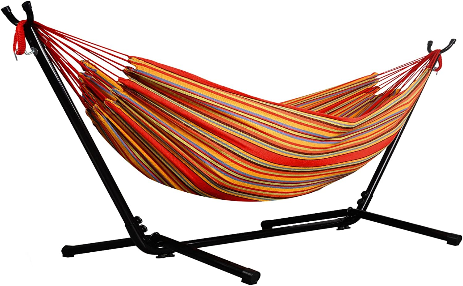 Afranker Double Hammock with SpaceSaving Steel Stand Techno