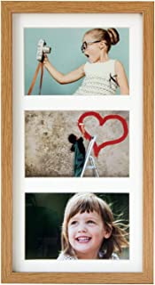 BD ART 18x35 cm (7x14-Inch) - 3 Aperture Oak Collage Picture Frame with Mat for 3 Photos 4x6-Inch