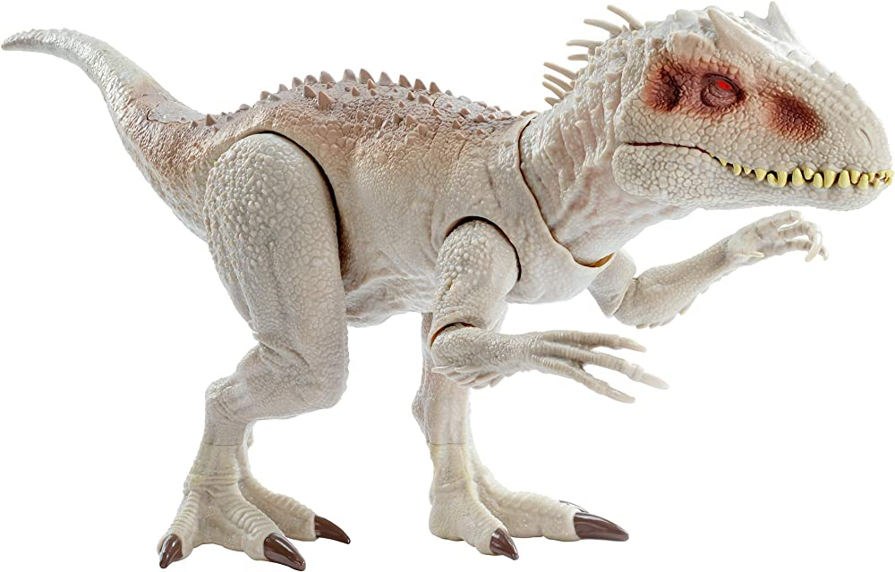 Jurassic world- indominus rex dinosauro alto 21,5 cm e lungo 58 cm , con luci e suoni giocattolo per bambini GNH35