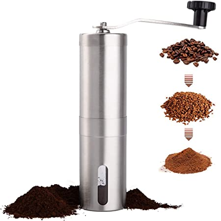 PARACITY Manual Coffee Bean Grinder Stainless Steel Hand Coffee Mill Ceramic Burr for Aeropress, Drip Coffee, Espresso, French Press, Turkish Brew