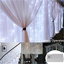 9.8 ft x 9.8 ft 300 LEDs White Backdrop Curtain Lights with Remote,9 Mode Battery Operated Super Bright Icicle Wall Lights for Indoor Outdoor Wedding Ceremony,Restaurant,Beverage Shop,Mall,Shop,BBQ