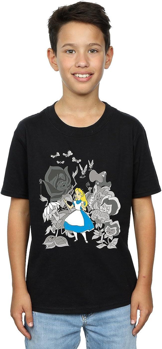 Disney Boys Alice in Wonderland Flowers T-Shirt 12-13 Years Black