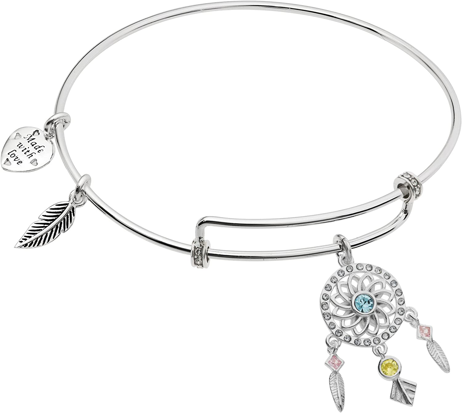 Qina C. Sterling Silver Max 41% OFF Dream Catcher Heart Max 82% OFF Ch CZ Dangle Feather
